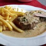 """Knobi-Steak im Restaurant """"Trifelsblick"""" in Wernersberg in der Pfalz"""