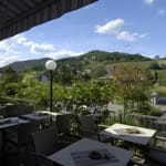 """Terrassen-Aussicht des Restaurant """"Castell"""" in Leinsweiler in der Pfalz"""