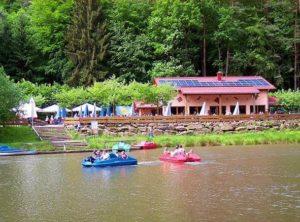"""Tretbootfahren auf dem Paddelweiher an der """"Paddelweiher-Hütte"""" in Hauenstein"""