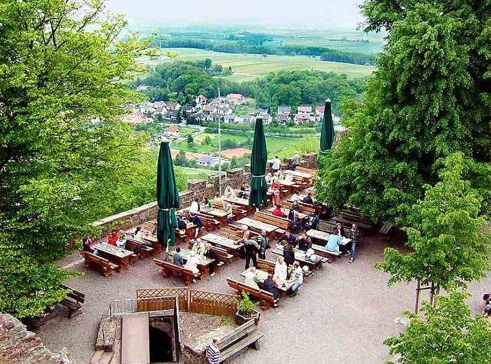 Die Terrasse der Burgschänke auf Burg Landeck