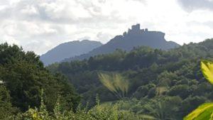 Blick auf die Burg Trifels von Wernersberg aus