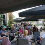 Herrlich die Terrasse der Lounge im Weinkontor Edenkoben