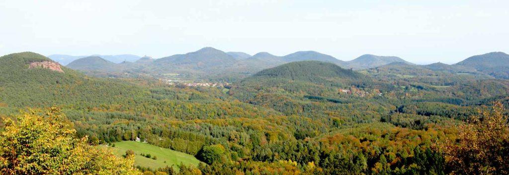 Blick von Ruine Lindelbrunn aus über Gossersweiler in der Pfalz auf Burg Trifels - links der Rötzenberg mit Rötzenfels - rechts Feriendorf Eichwald