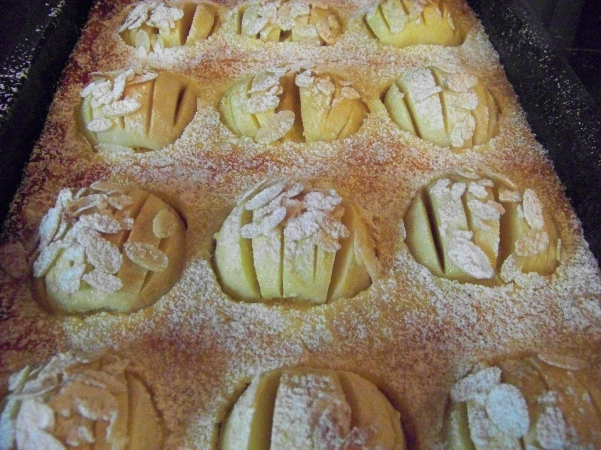 Apfelkuchen Vom Blech Mit Rahmguss Und Mandeln Www Pfalz Info Com
