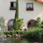 """Der schöne Teich des Weinguts, Gästehaus """"Villa Hochdörffer"""" in Landau-Nußdorf in der Pfalz"""