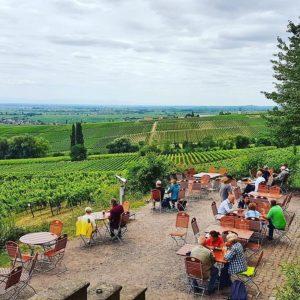 Bier- und Weingarten auf Schloss Villa Ludwigshöhe bei Edenkoben in der Pfalz
