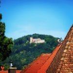 Ruine Rietburg mit Höhengaststätte von Rhodt aus