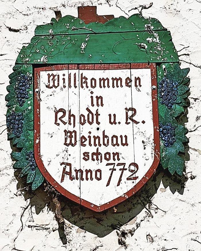 Willkommen in Rhodt unter Rietburg - Weinbau schon Anno 772